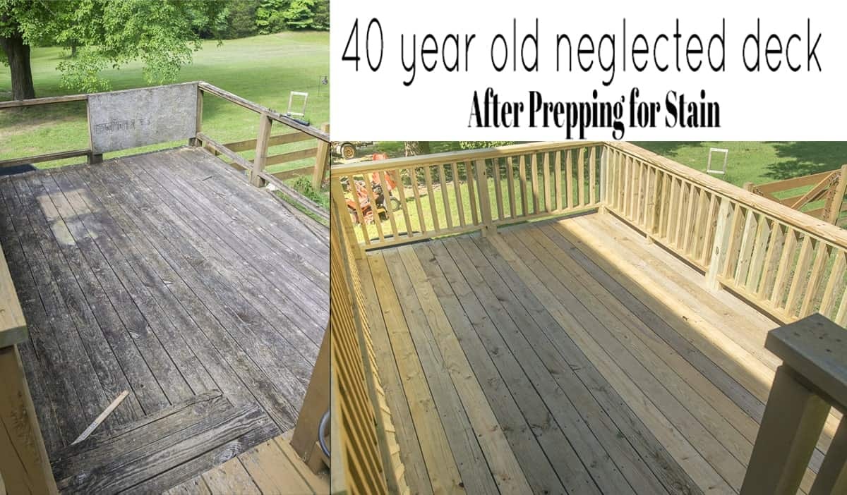 After photo comparison of pressure washed deck next to before pic of deck.