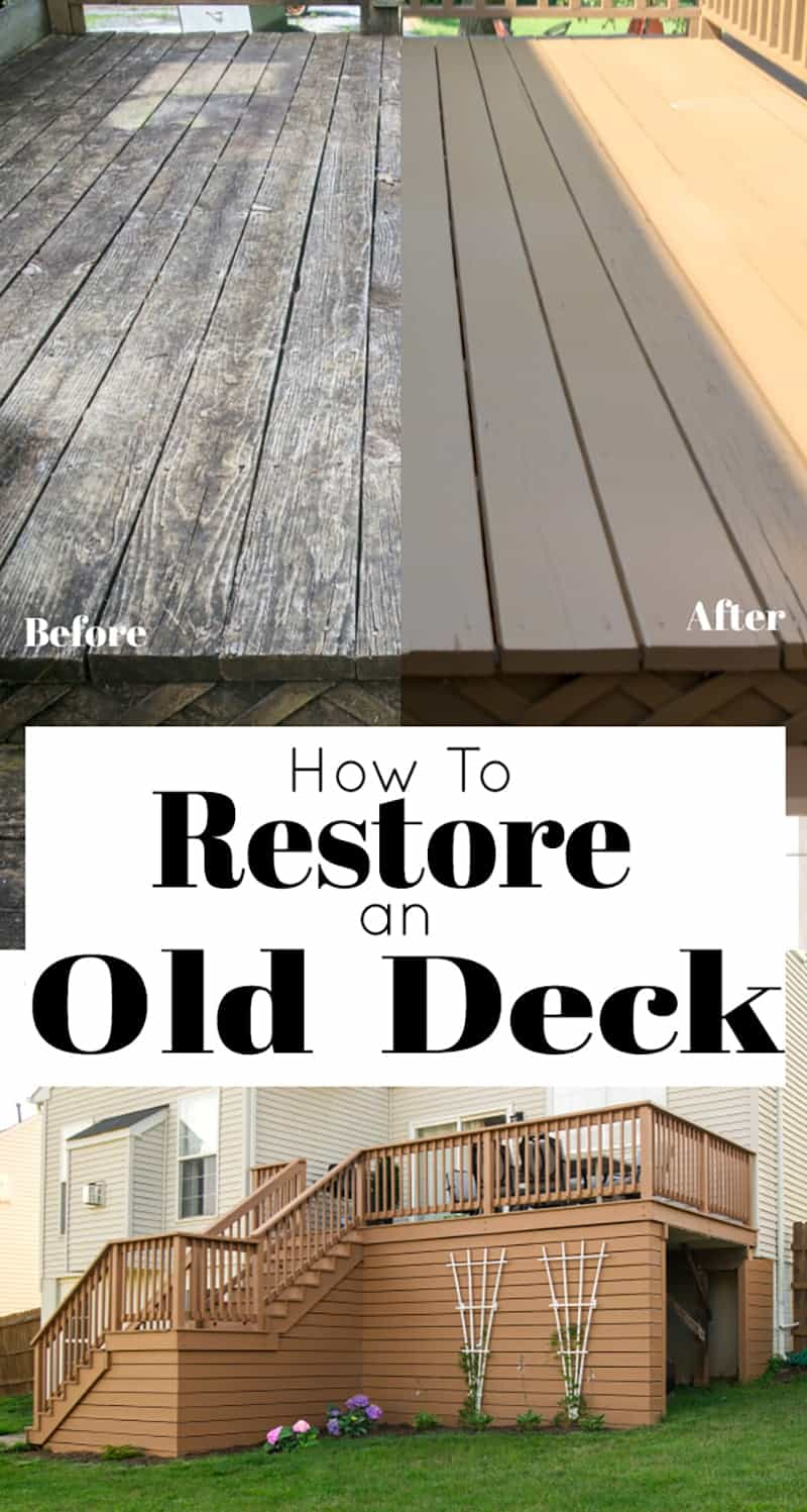 Deck restoration before and after comparison  photo with title and large deck off rear of house with backyard shot.