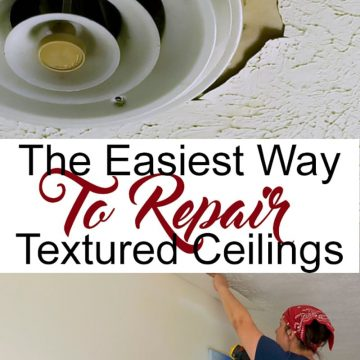 Woman repairing textured ceiling with plaster falling down.