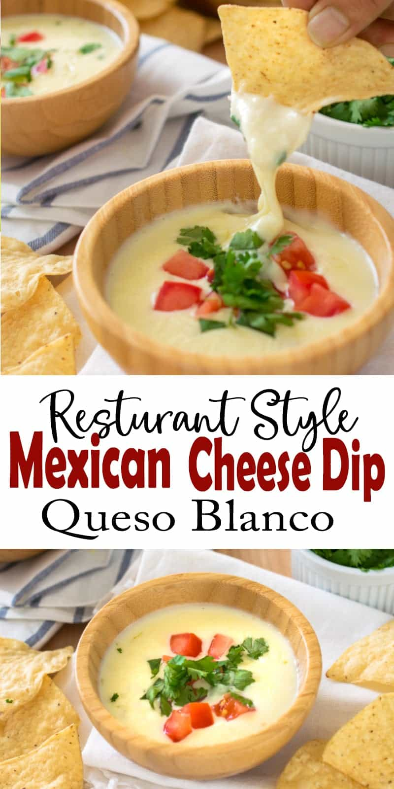Close up of bowl of queso blanco and chip dipping into queso blanco with title.