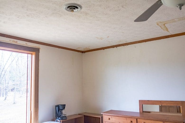 How To Repair Water Damaged Textured Ceilings - before