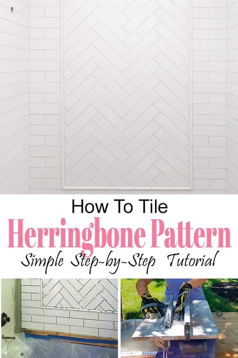 White herringbone tile shower inset in subway tile shower with title and tutorial pics.