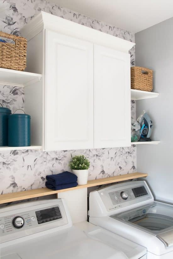 Neutral Laundry Room Makeover with teal
