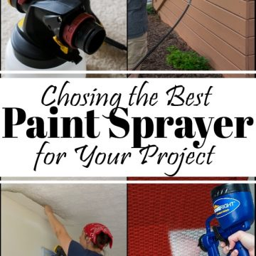 Collage of spray paint projects with title for choosing the best paint sprayer for your project.