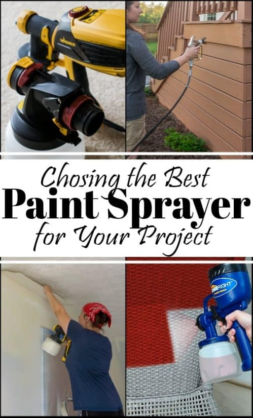 Paint Sprayers are one of the best tools for DIYers and homeowners! From painting cabinets to staining fences in a flash, this is the ultimate guide to which model is the best paint sprayer for you! #paintsprayer #paintgun #bestpaintsprayer