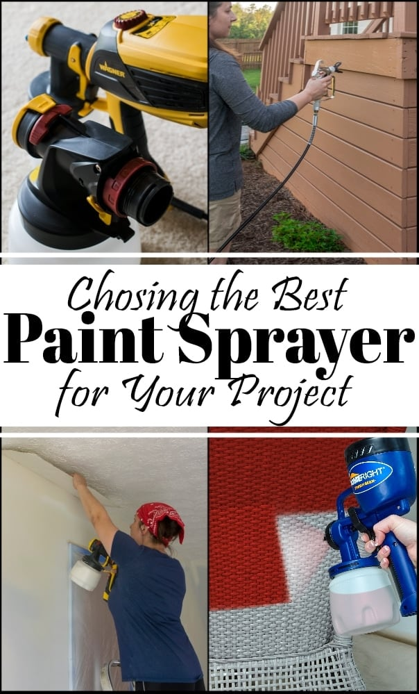 Choosing the best paint sprayer for your project and images of four different paint sprayers in use.