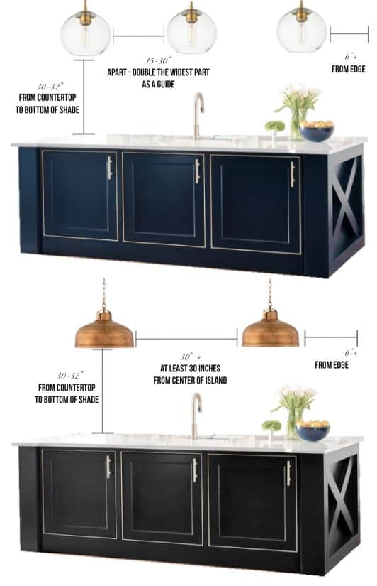How to space kitchen island pendants. Great guide for sizing and kitchen island decorating ideas.