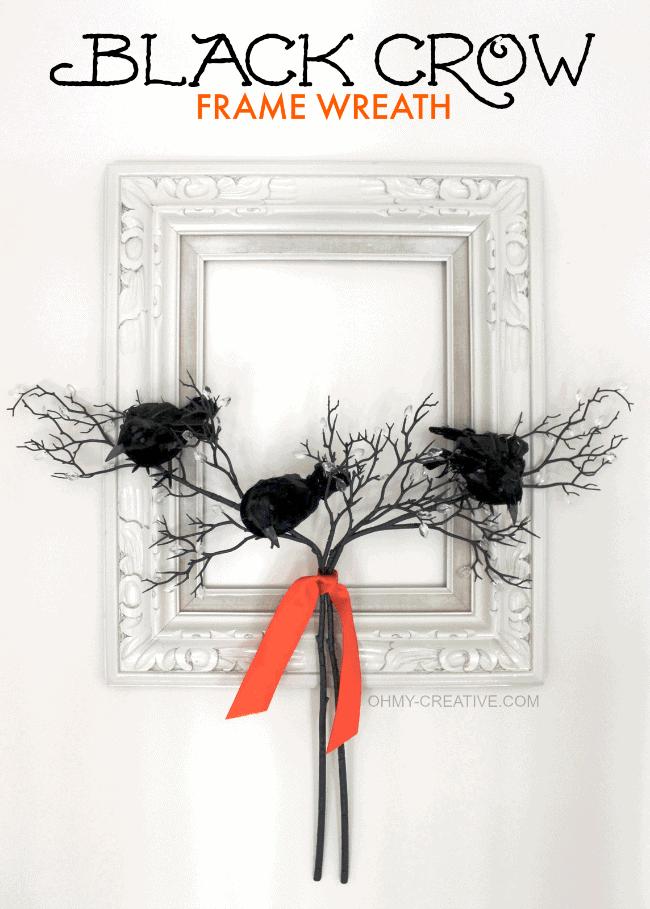 Black crow frame wreath Halloween front porch decor.