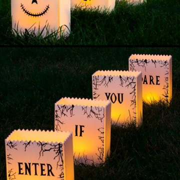 Halloween luminaries back and front made for outdoors.