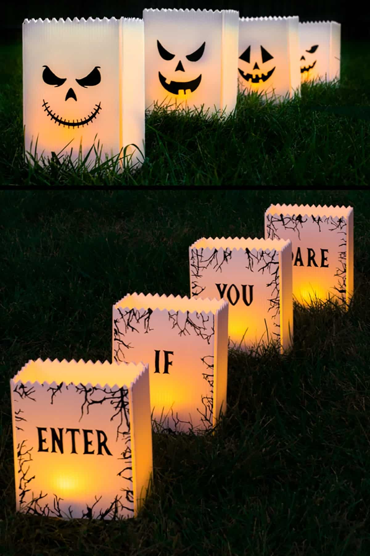 Halloween lanterns lit up at night in the grass. White with black accents- jack-o-lantern and Enter if you dare message.