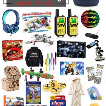 Tween Boy gift guide with examples of gift ideas including bean bag, puzzles, games, electronic toys, and clothing.
