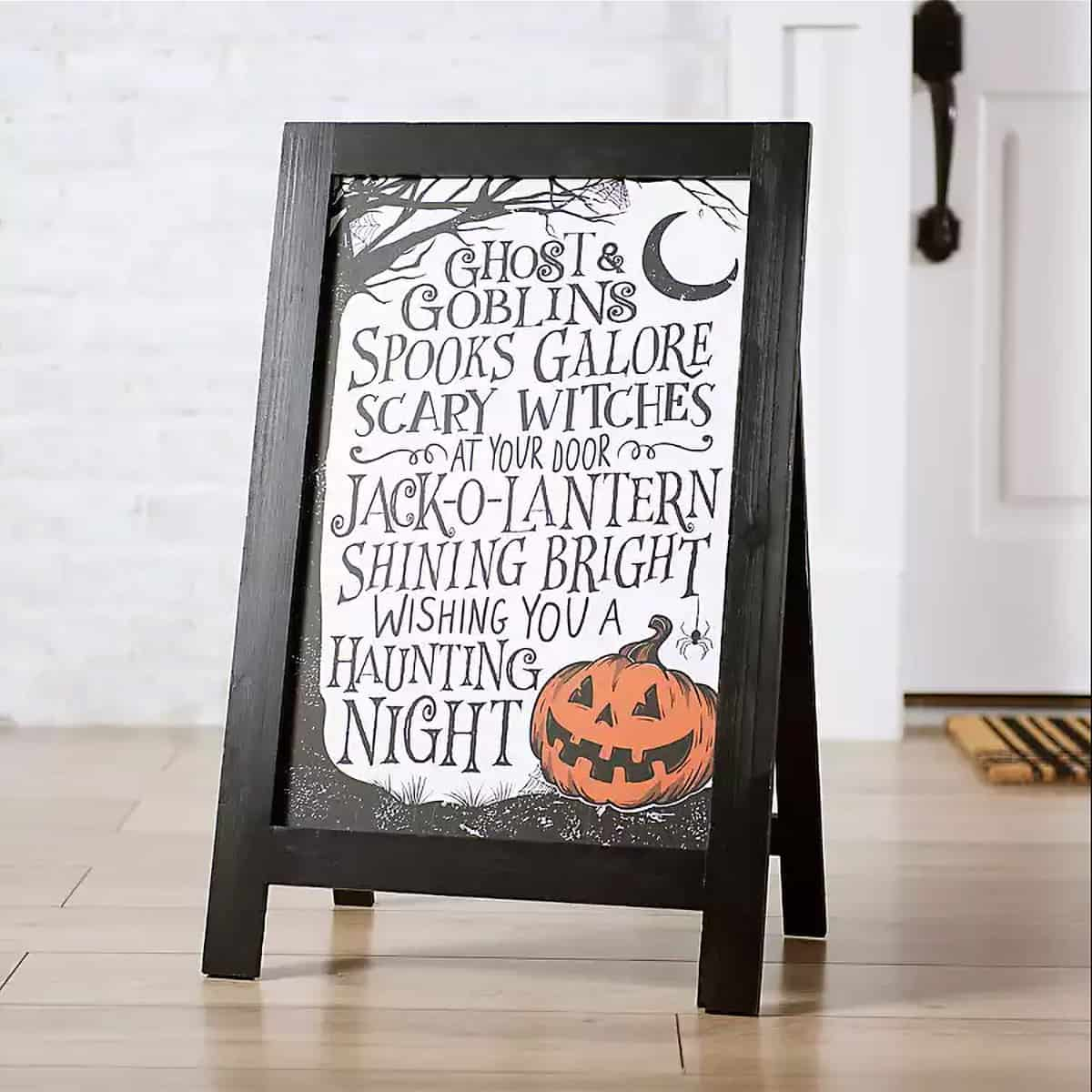 Witches go riding small menu folding board Halloween front porch decor.