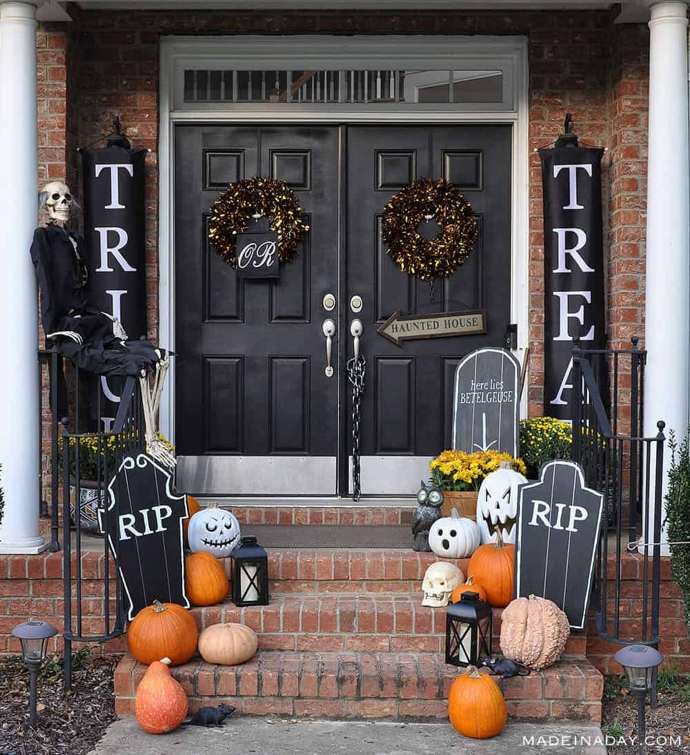 Trick or Treat Halloween Front Porch decor with DIY tombstones.