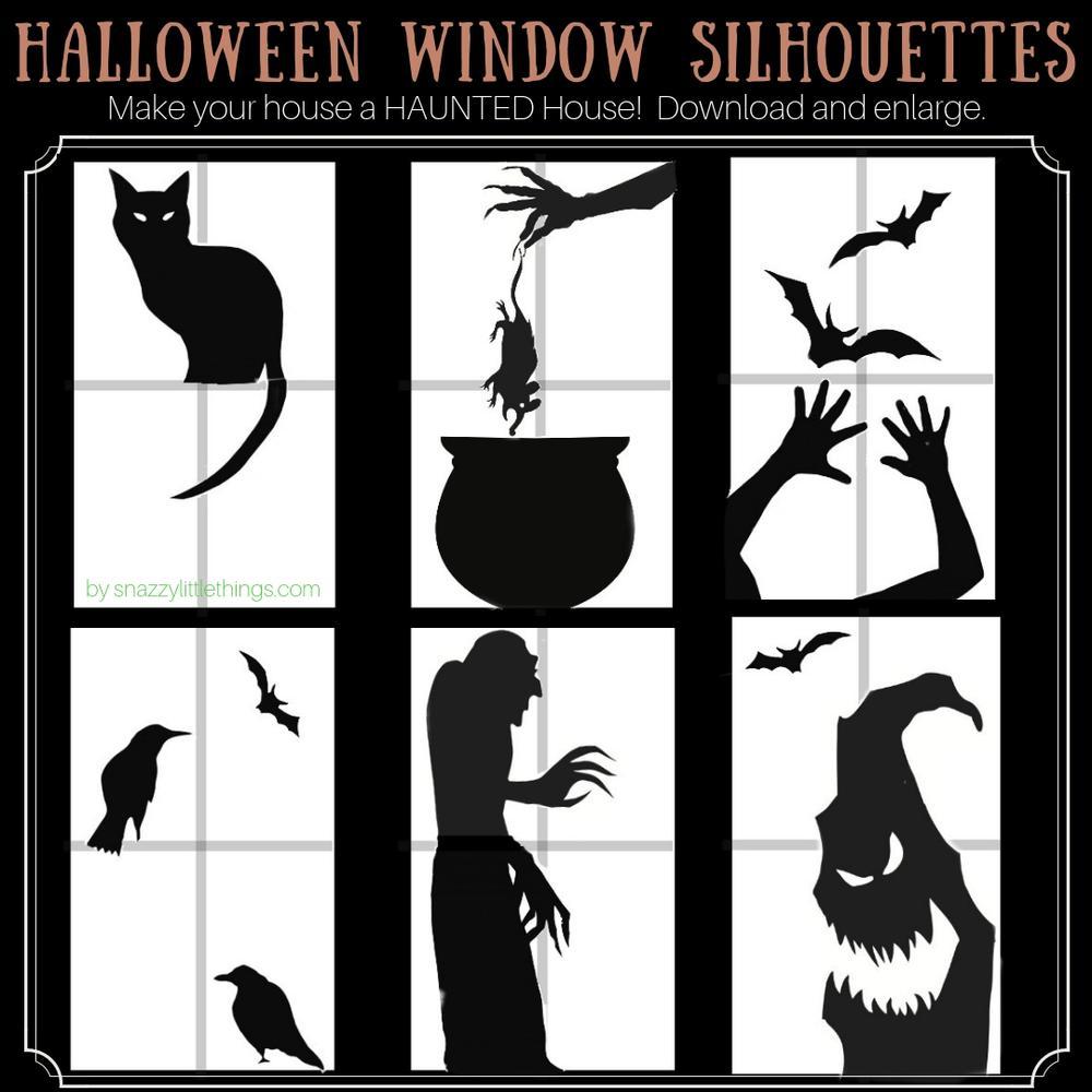 Halloween window clings for haunted house Halloween decor.