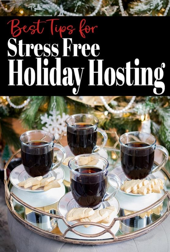 Coffee Cups on a tray with title overlay that reads stress free holiday hosting.