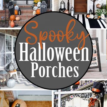 Collage of porches decorated for Halloween..