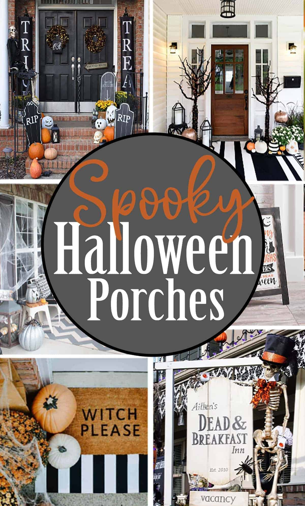 Spooky Halloween Porch Decor Ideas including custom made door mats, Dead & Breakfast Inn sign, and black and white themed front porch with title.