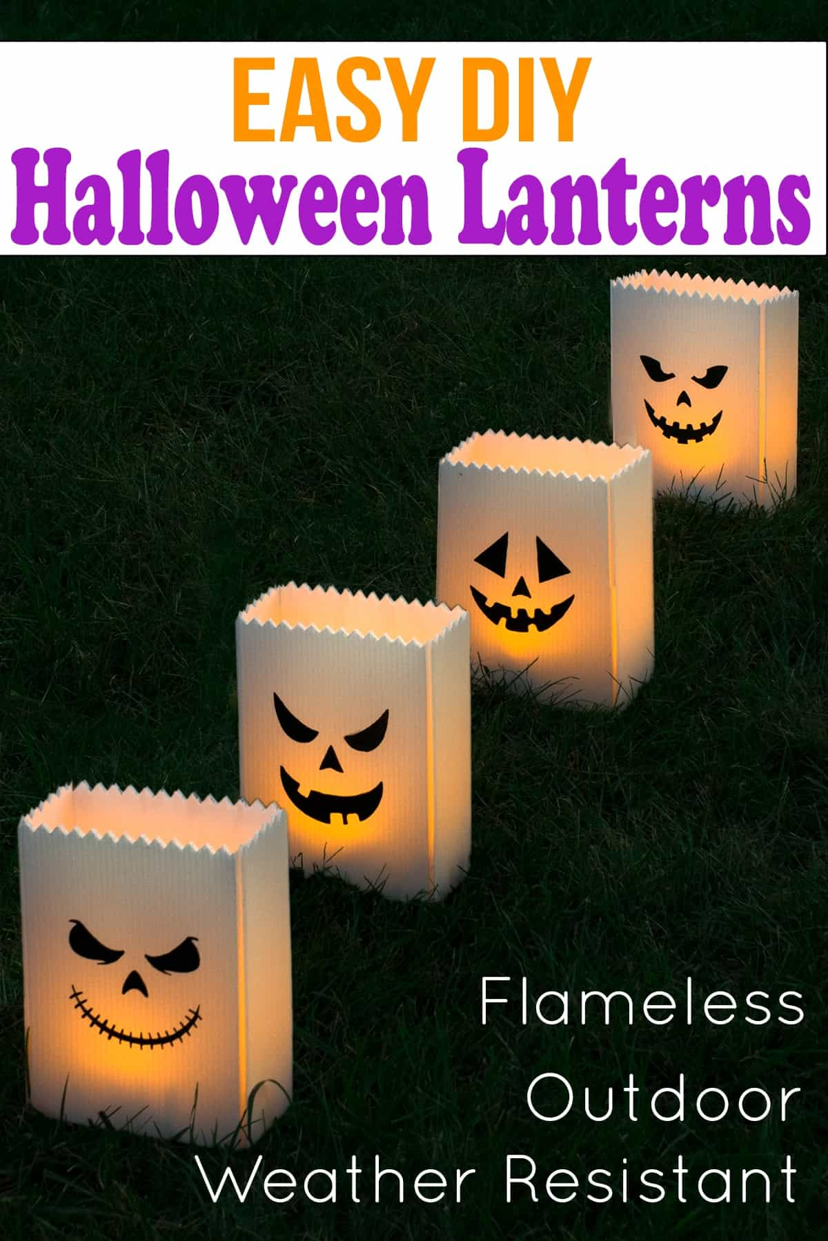 Flameless outdoor luminaries with jack-o-lantern faces in grass with title.
