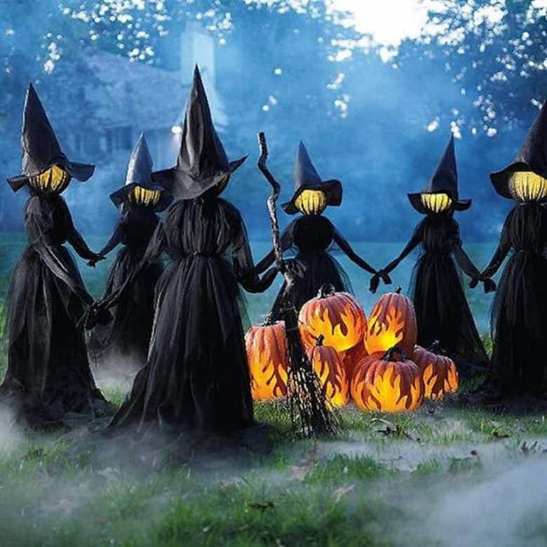 Outdoor Halloween Decorations - witches holding hands