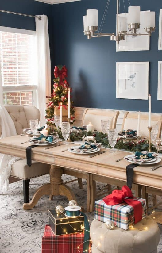 Traditional Christmas Table Decorations - blue and plaid