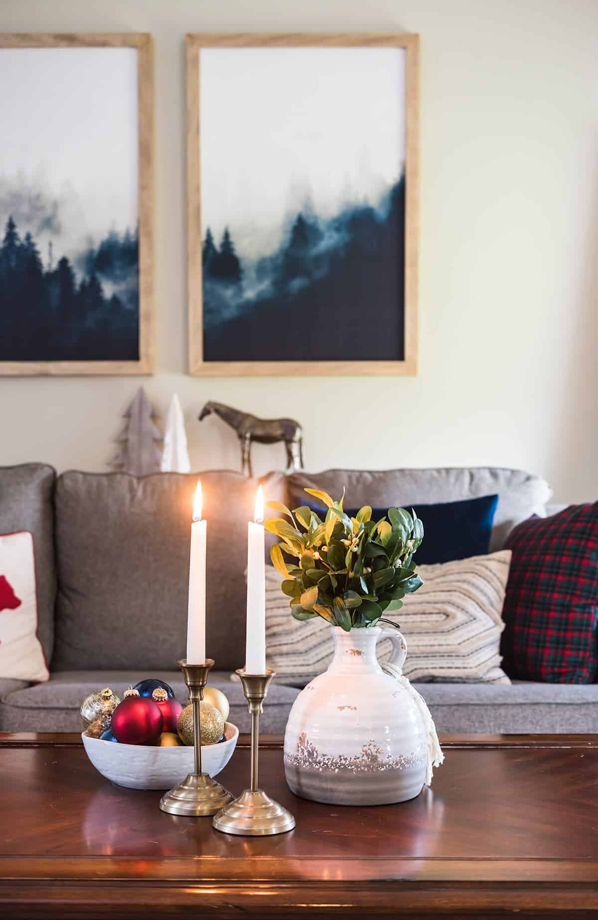 Christmas Coffee Table Styling in living room with touched of blue to pull in the Tartan plaid. Modern traditional.