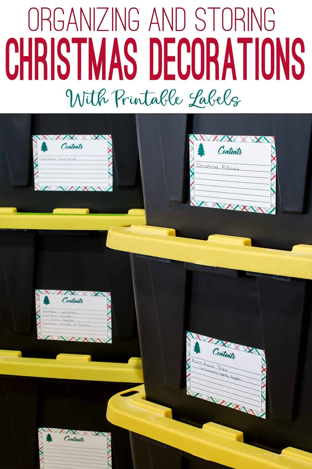 Christmas storage bins with printable content labels.