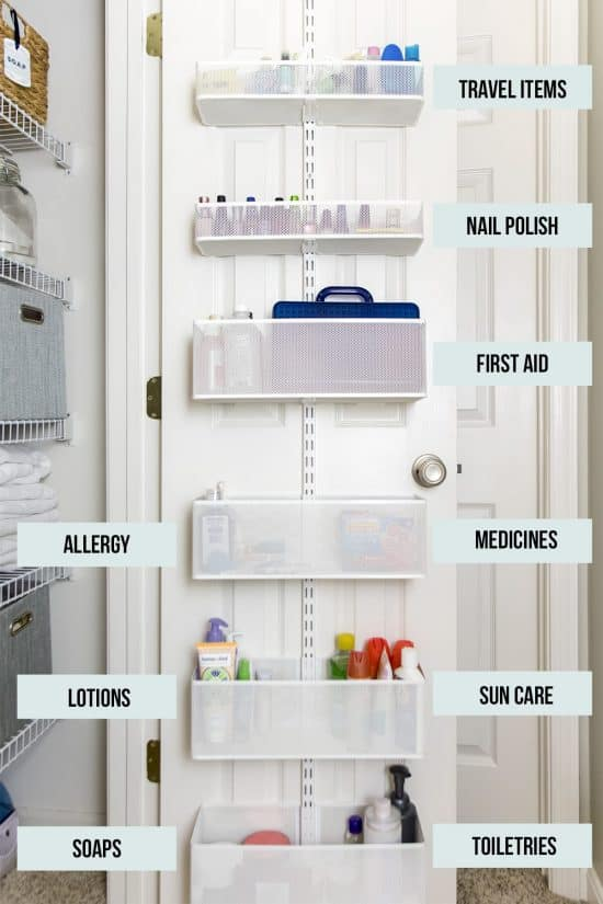 Elfa Linen closet storage installed on the back of a door.