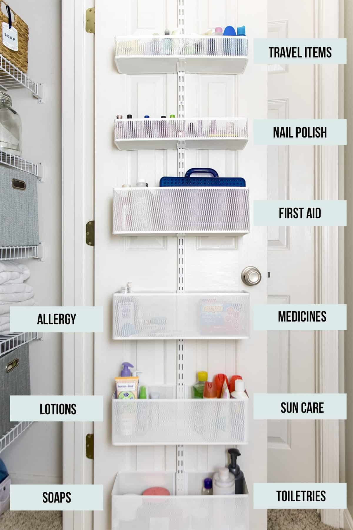 Elfa Linen Closet Door Organizer with the toiletries labeled in a linen closet.