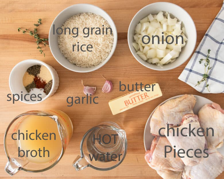 Ingredients for Baked Chicken and Rice Casserole with text labels.