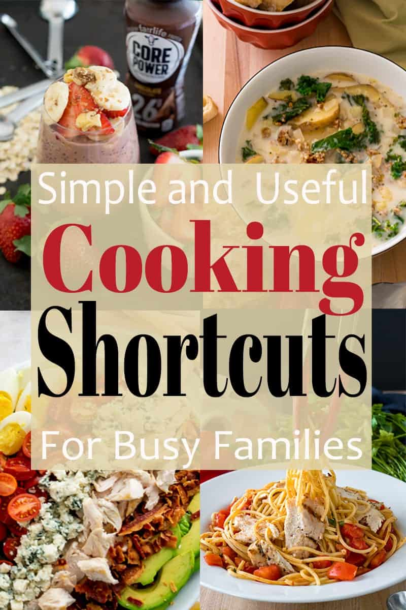 Simple and useful cooking shortcuts for busy families and montage of easy meals.