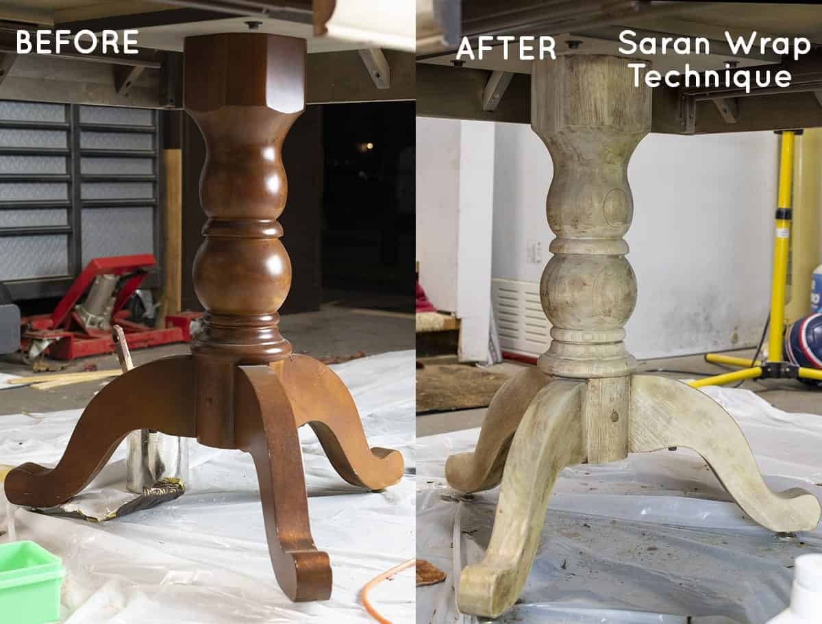 Before & after Saran wrap stripping technique table legs.