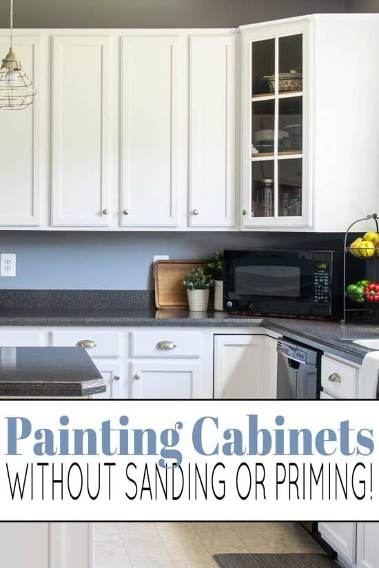 How to paint kitchen cabinets without sanding or priming.