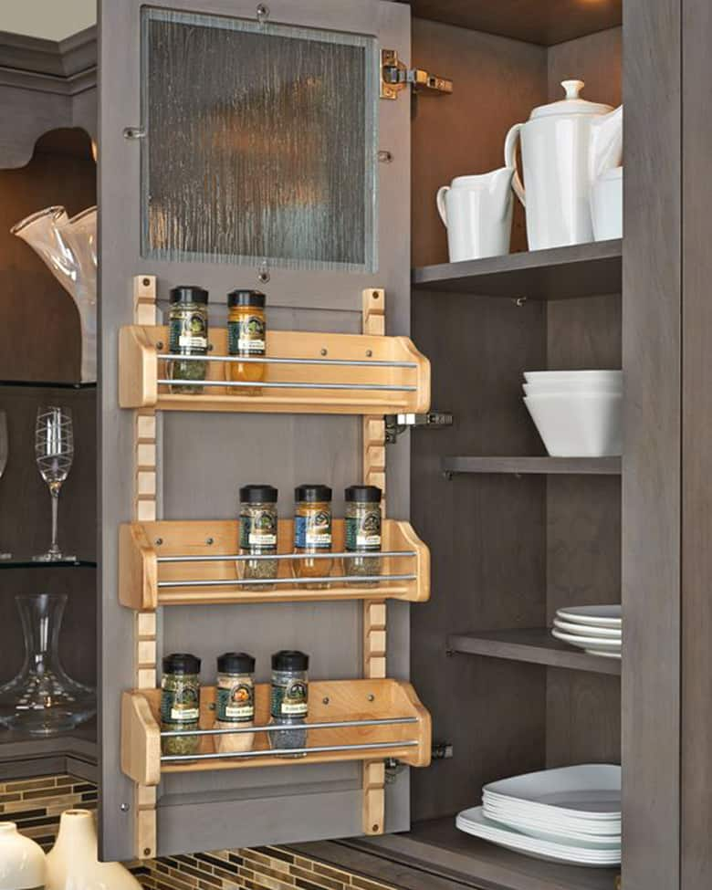 Spice organization idea for the back of cabinet doors, mounted adjustable rack.