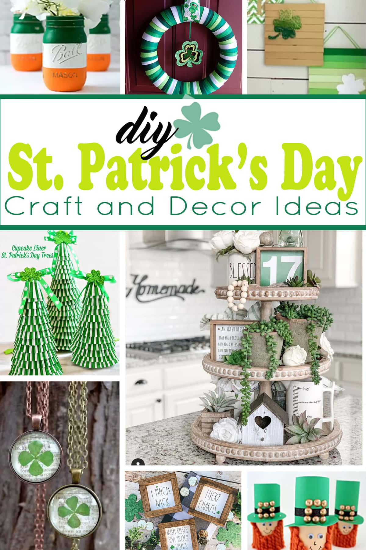 Collage of DIY craft and decor ideas for St. Patrick's Day.