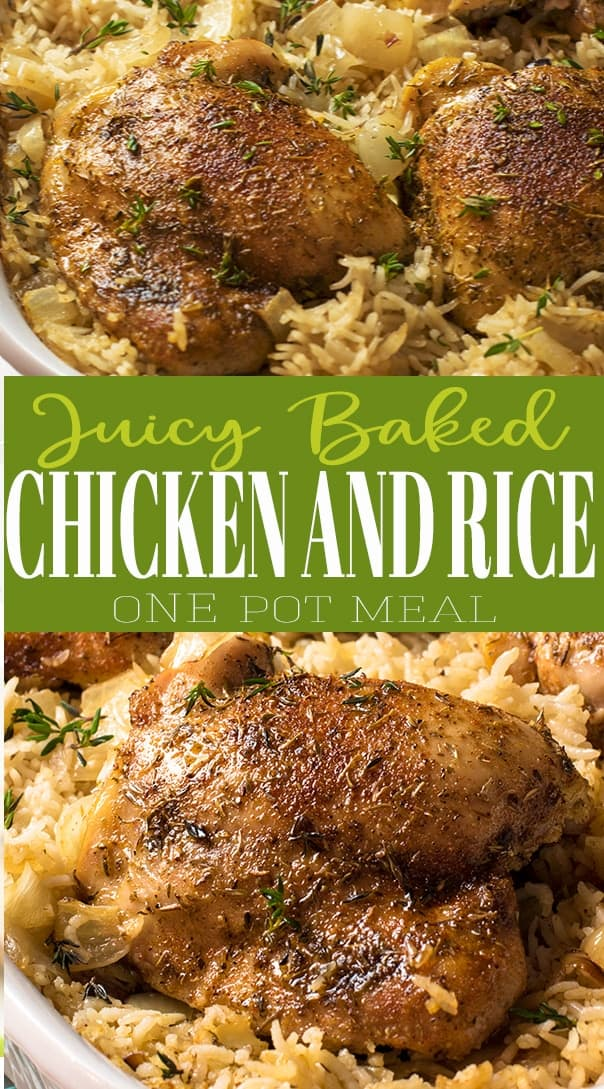 Oven baked chicken and rice one pot meal with title.