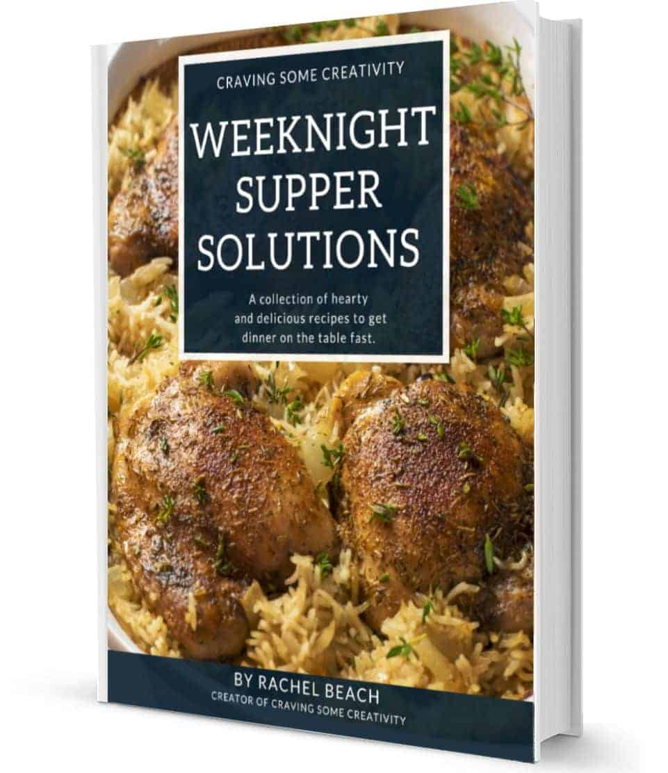 Cookbook cover of Chicken and Rice casserole. The cookbook is titled Weeknight Supper Solutions