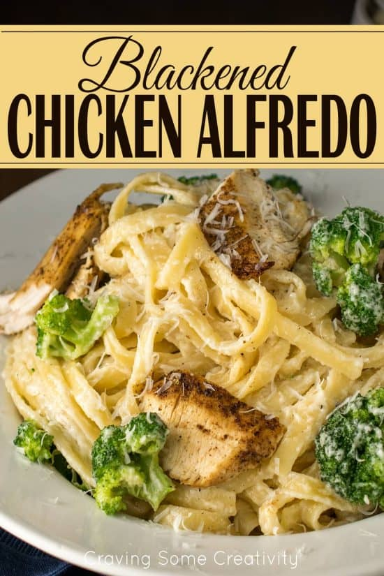 Blackened Chicken Alfredo pasta in a bowl with fettuccini noodles and broccoli.