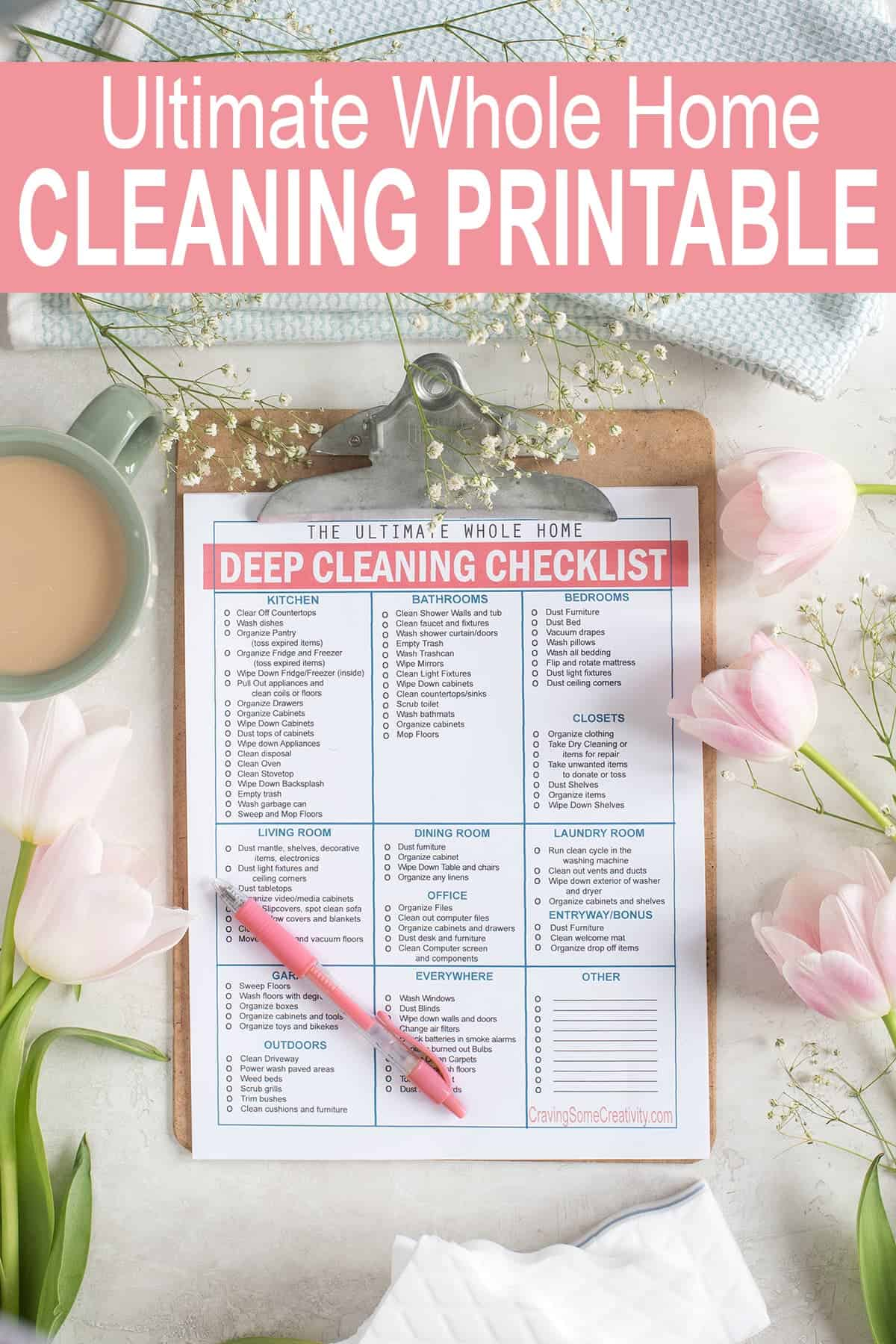 Whole House Deep Cleaning Checklist on clipboard with pink pen. Cup of coffee, tulips and baby's breath in the background.