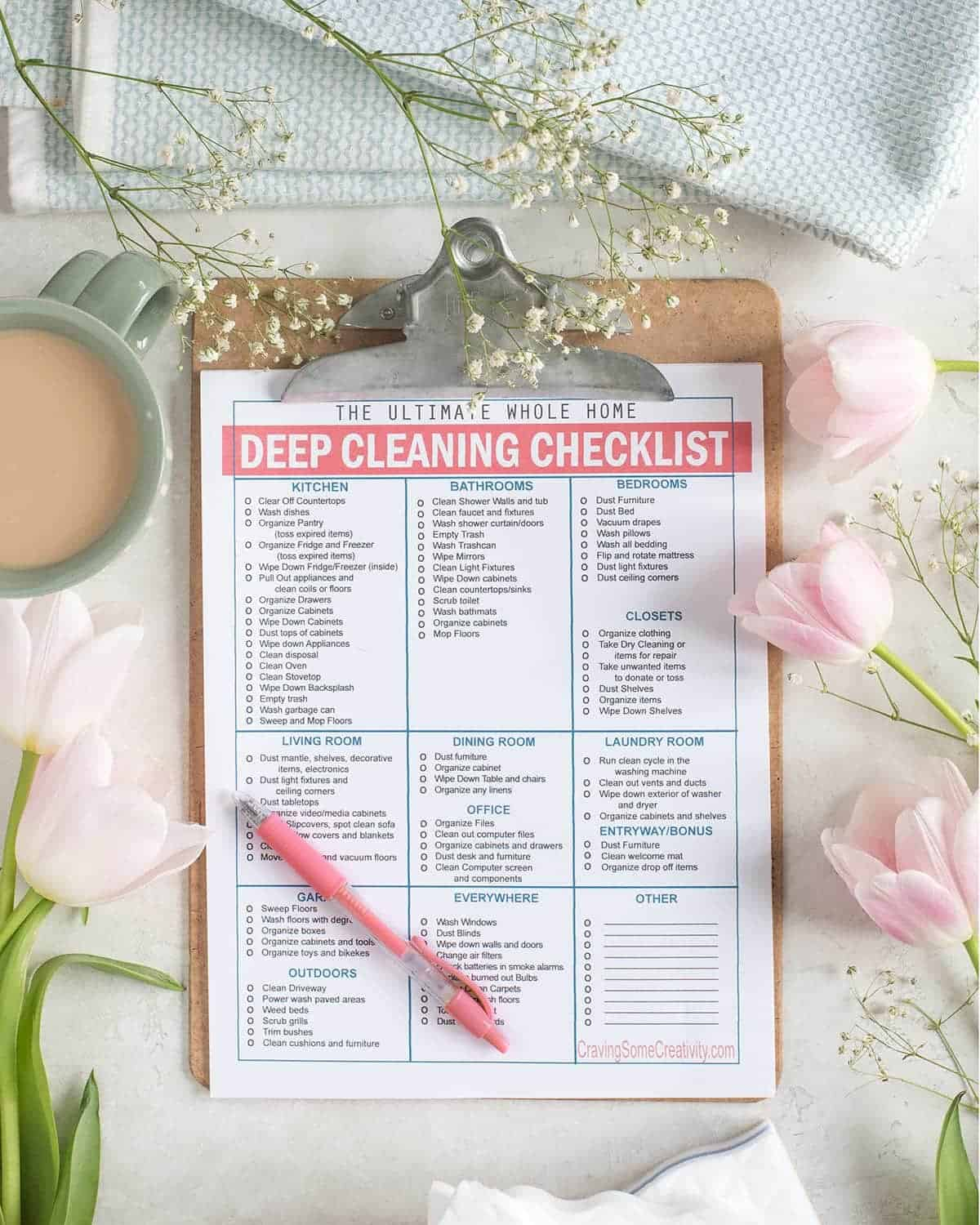 Whole Home Cleaning Printable Checklist on clipboard with pink pen. Norwex cloth, baby's breath, pink tulips and coffee cup in background.