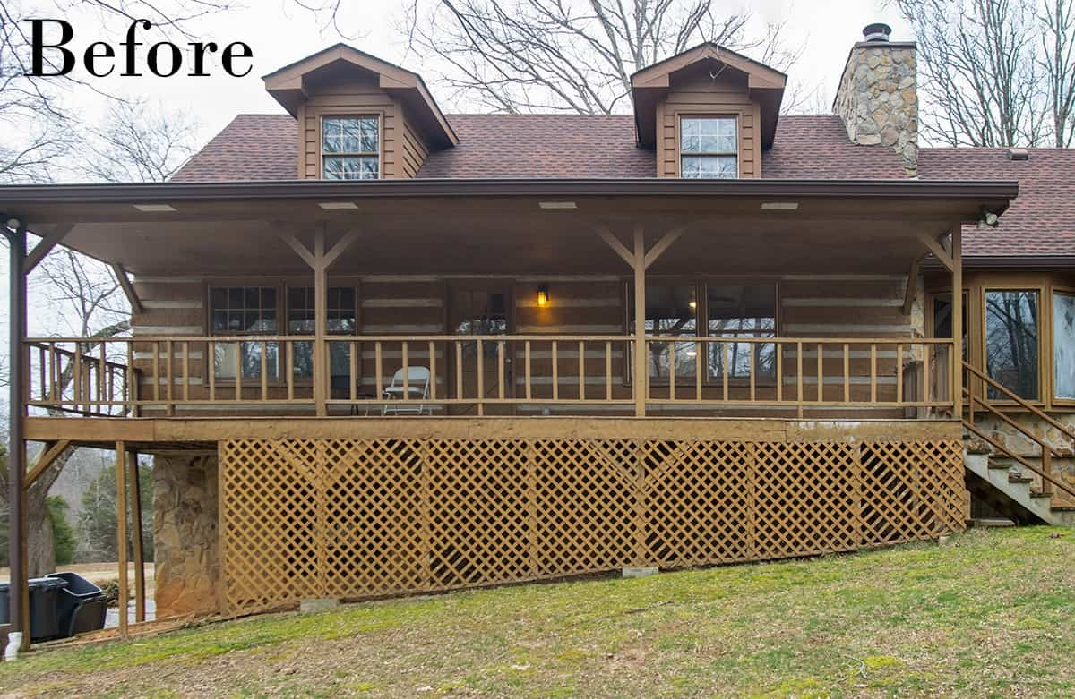 Before photo of exterior of Rustic Modern Log home before exterior and lattice was stained with paint sprayer.