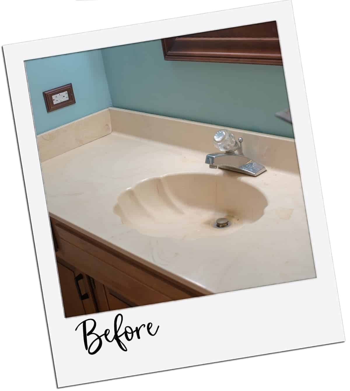 Installing a new vanity top - Before pic of 80's style seashell sink and blue walls.