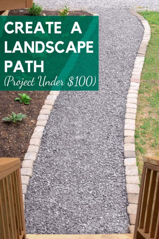 Gravel walkway path with stones on each side.