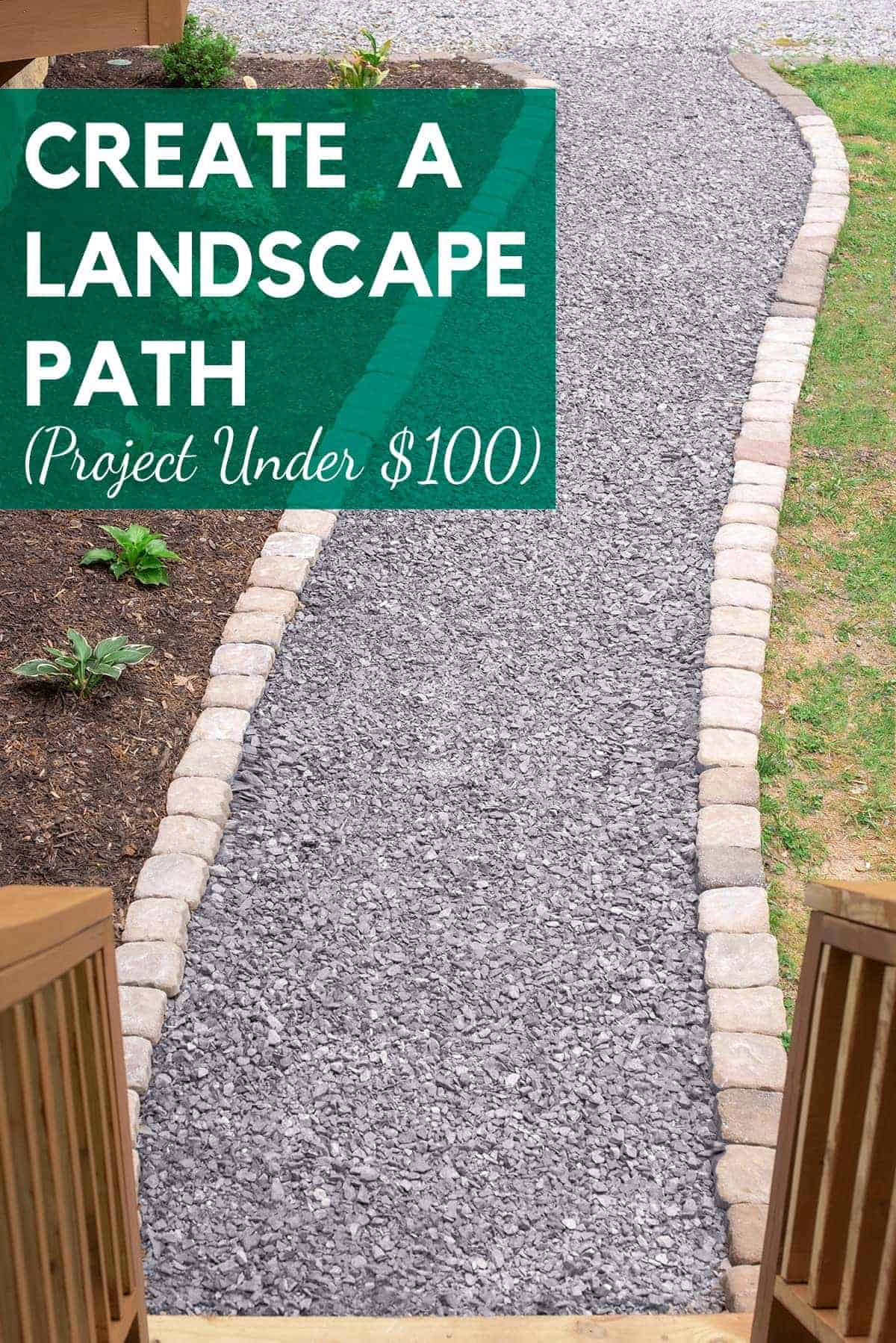 Gravel walkway under $100 diy project. Gravel walkway flanked with larger light gray stones leading to porch railing. Small plantings in mulch and grass flabk walkway.