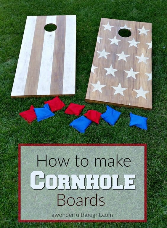DIY cornhole boards outdoor games