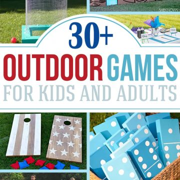Collage of outdoor games for kids and adults.