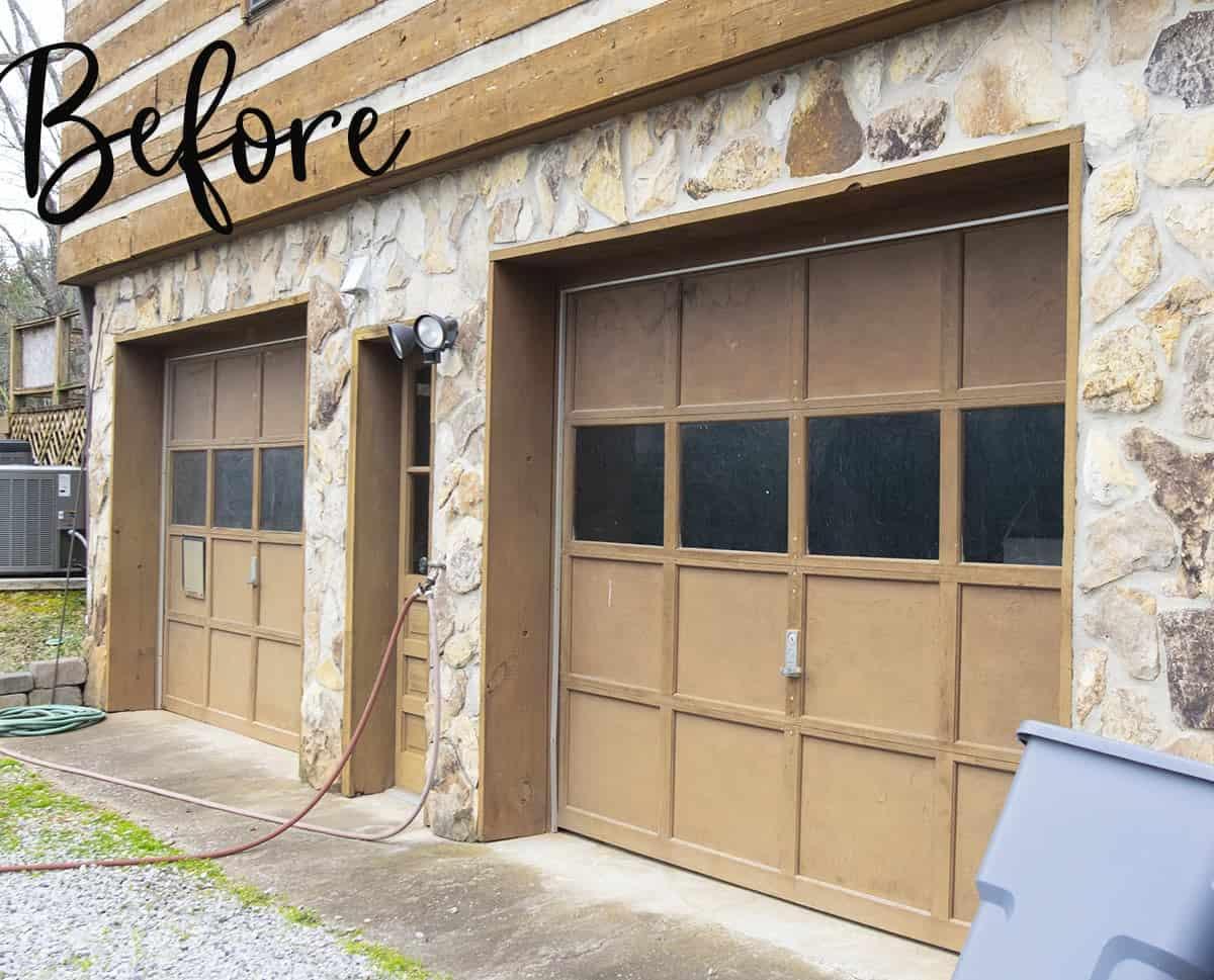 Beaten up garage doors before painting.