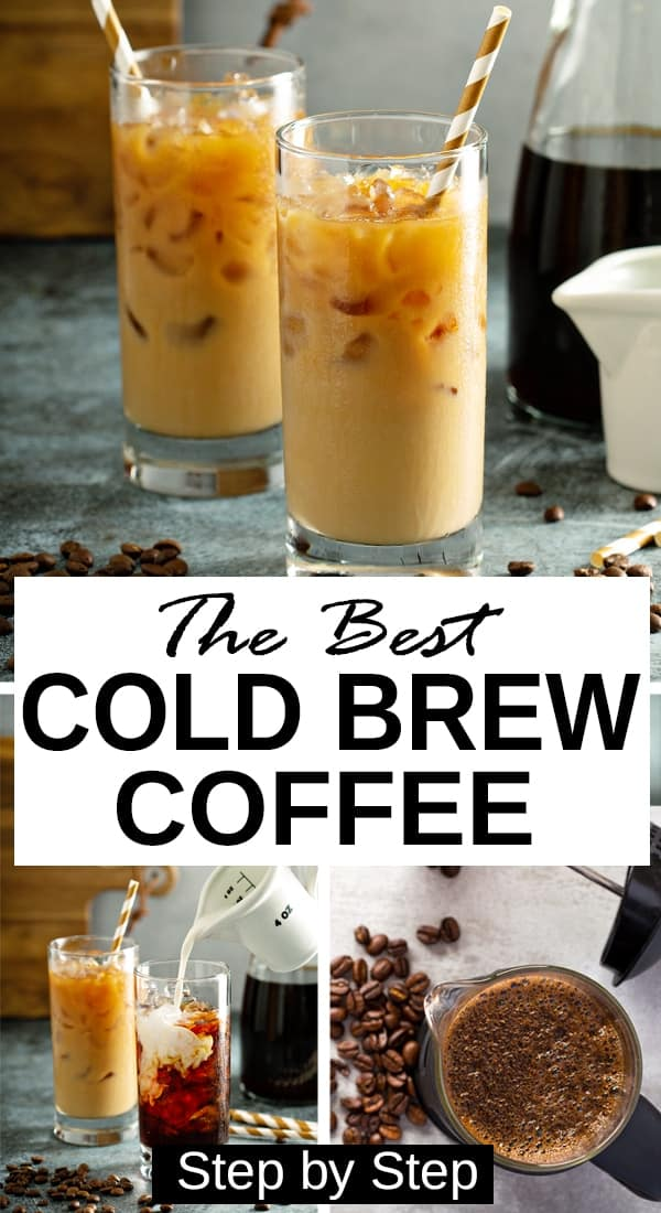 Two glasses of the best iced coffee lattes - How to make cold brew for easy iced lattes like starbucks and dunkin donuts at home