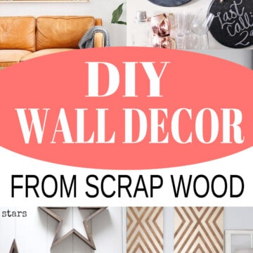Collage of wall art ideas made from scrap wood.