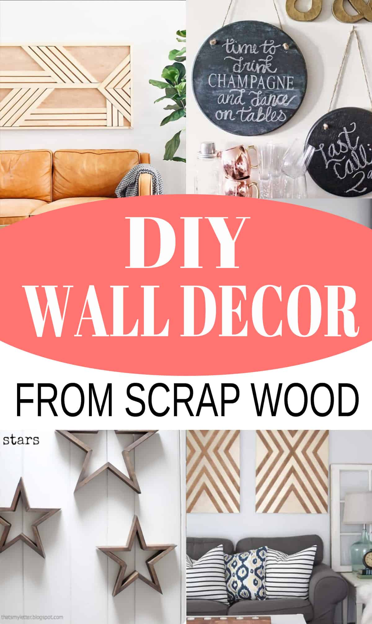 Collage of DIY scrap wood wall decor ideas with post title.