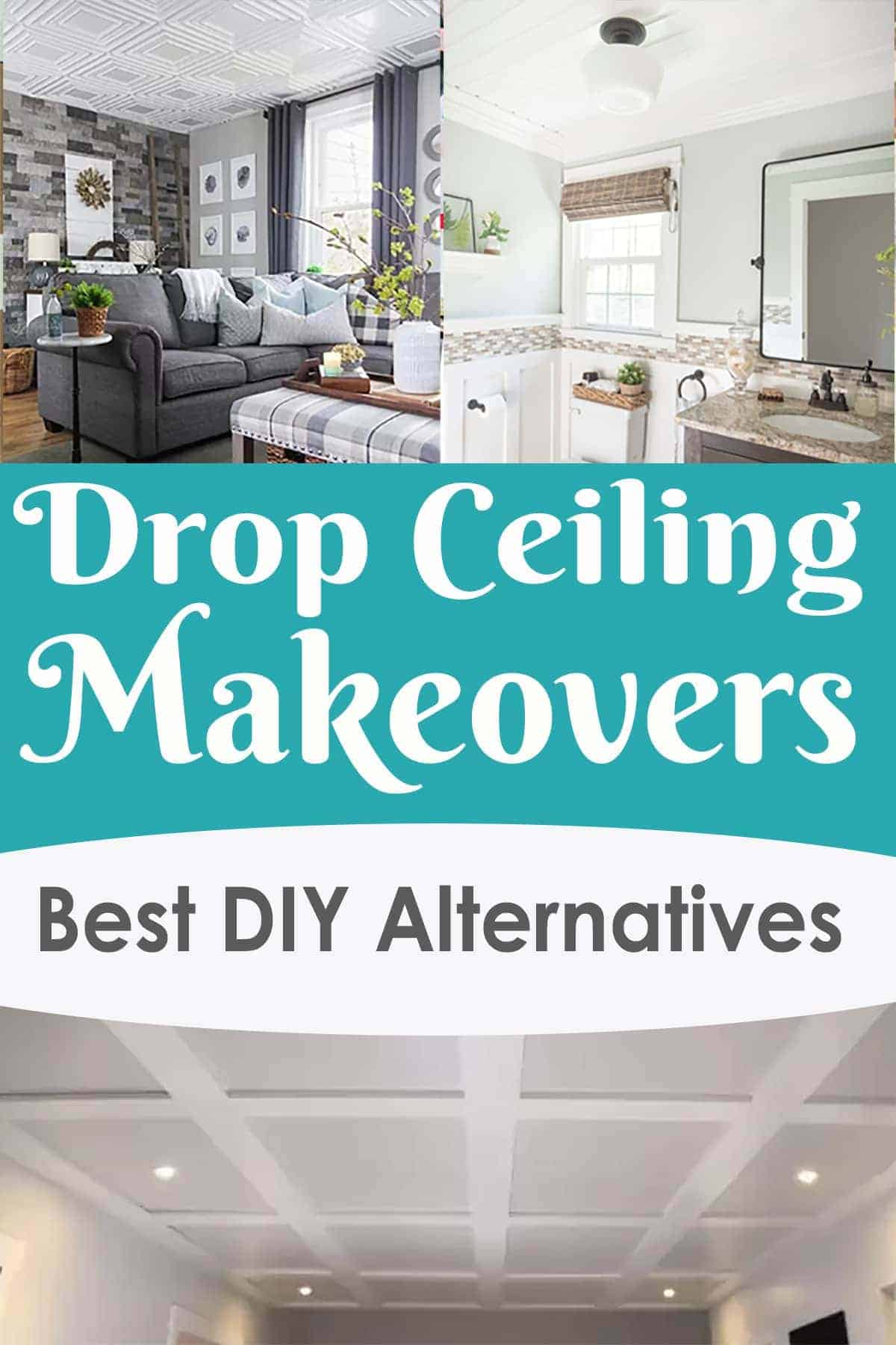 Drop ceiling makeovers with examples of the best DIY alternatives to an ugly suspended ceiling
